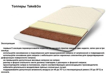 Тонкие мини-матрасы топперы Take&Go с кокосом